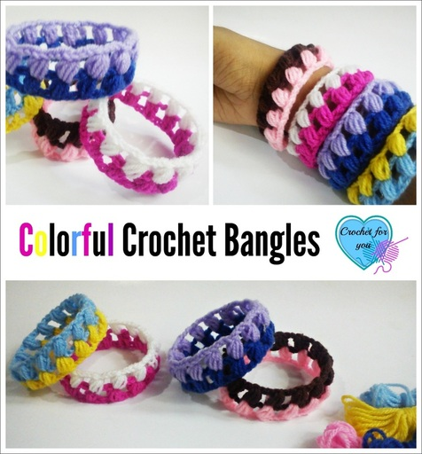 Colorful Crochet Bangles - free pattern
