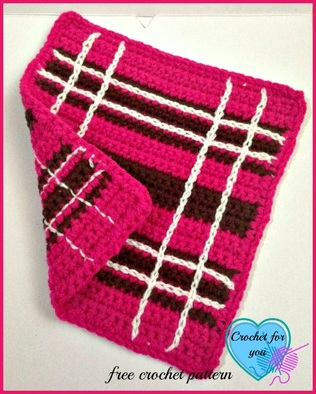 Crochet Scottie Plaid Dishcloth - free pattern