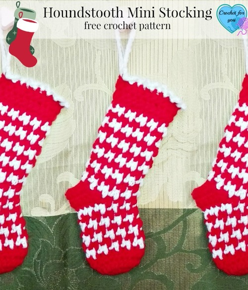 Houndstooth Mini Stocking – free crochet pattern