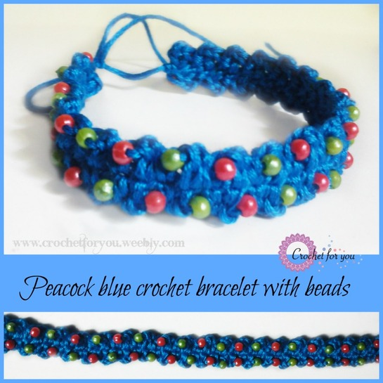 pattern for Mothers day. peacock blue crochet bracelet with beads ...