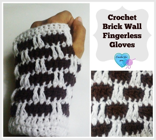 Brick Wall Crochet Fingerless Gloves - free pattern