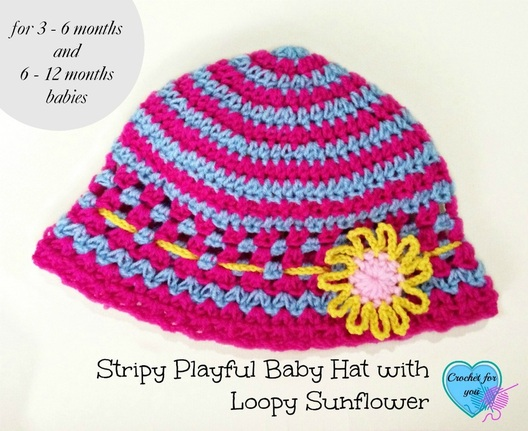 Stripy Playful Baby Hat with Loopy Sunflower - free crochet pattern