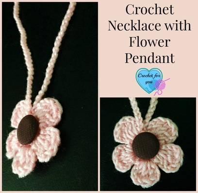 Crochet Necklace with Flower Pendant-free crochet pattern